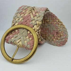 Accessories - Pink & Gold Suede Leather Braided Woven Belt